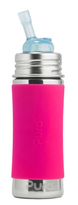 Pura Kiki Straw Bottle 11oz - Pink Sleeve
