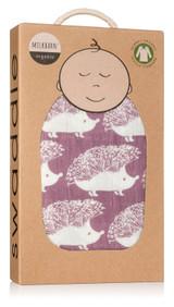 Milkbarn Organic Cotton Swaddle - Lavender Hedgehog (61053)