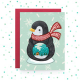 Warmest Wishes Penguin - Greeting Card