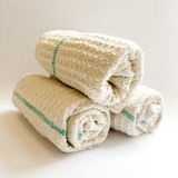 Iris Hantverk Large Cotton Cleaning Cloth - Natural with Green Accent