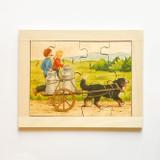 Dog pulling wagon