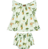 Milkbarn Bamboo Dress with Bloomer - Potted Plants