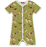 Milkbarn Organic Cotton Romper - Green Dog