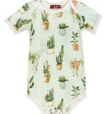 Milkbarn Bamboo Onesie Short-Sleeve Potted Plants