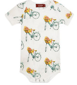 Milkbarn Bamboo Onesie Short-Sleeve - Floral Bicycle