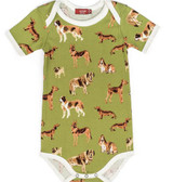 Milkbarn Organic Cotton Onesie Short-Sleeve  Green Dog