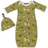 Milkbarn Organic Cotton Newborn Gown & Hat Set - Green Dog