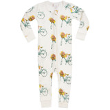 Milkbarn Organic Cotton Zipper Pajamas - Floral Bicycle