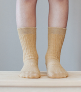 Lamington Crew Merino Wool Cable Socks - Caramel
