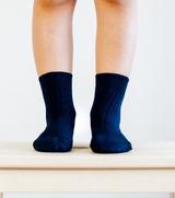 Lamington Crew Length Wool Socks - Navy Rib