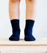 Lamington Crew Length Wool Socks - Navy Rib