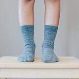 Lamington Crew Length Wool Socks - Grey Rib