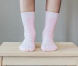 Lamington Crew Length Wool Rib Socks - Butterfly (Pink)