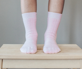 Lamington Crew Length Wool Rib Socks - Butterfly (Pink)