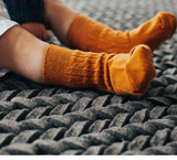 Mossey Cable Crew Cotton Socks - Kowhai (Burned Orange)