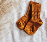 Mossey Cable Crew Cotton Socks - Golden Oak (Burned Orange)