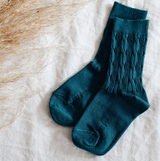 Mossey Cable Crew Cotton Socks - Stargazer (Dark Teal)