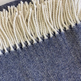 Merino Lambswool Supersoft Blanket - Navy Herringbone