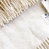 Merino Lambswool Supersoft Blanket - Linen Herringbone (Ecru)