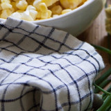 Fog Linen Tea Towel - Ivory with Navy Check