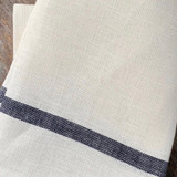 Fog Linen Thick Kitchen Cloth - White with Navy Accent Stripe