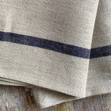 Fog Linen Thick Kitchen Cloth - Natural with Navy Accent Stripe