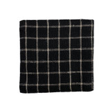 Fog Linen Coasters - Set of 6 - Black with Beige Plaid