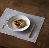 Fog Linen Placemats - Grey with White Stripe