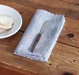 Fog Linen Napkins - Grey with White Stripes