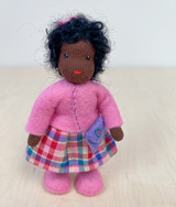 Waldorf Dollhouse Doll - Girl with Black Hair