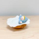 Hanging Blue Baby in Walnut - Flower Children