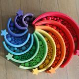 Grimm's 96 Wooden Beads (30 mm) - Rainbow