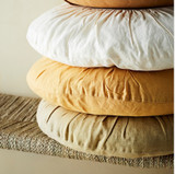 Round Linen Cushion - Light Tapenade (Light Olive)