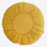 Round Linen Cushion - Sunflower