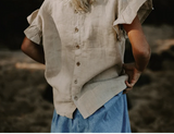 The Frill Linen Top - Oatmeal