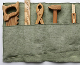 Wooden Mini Tool Set with 5 tools and Tool Belt - Green Burlap with ties