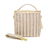 So Young Linen - Slate Pinstripe Lunch Poche