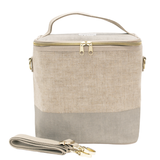 So Young Linen - Cement Colour Block Lunch Poche