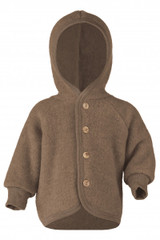 Engel Wool Fleece Hooded Jacket with Wooden Buttons - Walnut Melange