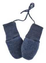 Engel Organic Merino Wool Fleece Baby Mittens - Blue Melange