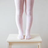 Lamington Merino Wool Tights Cable Knit - Cherry Blossom