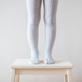 Lamington Merino Wool Tights Cable Knit - Snow Grey