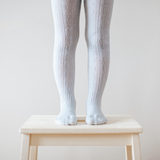 Lamington Merino Wool Tights Cable Knit - Snow Grey