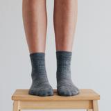 Lamington Crew Length Merino Wool Socks Woman - Grey Rib