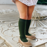 Lamington Knee High Length Wool Socks - Caper Rib