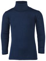 Engel Organic Merino Wool/Silk Kids Turtle Neck Shirt - Navy