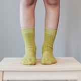 Lamington Crew Length Wool Socks - Pear Rib