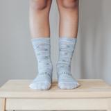amington Crew Length Wool Socks Basil - Grey with Green X