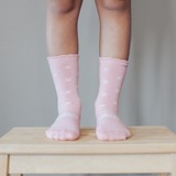 Lamington Crew Length Wool Socks rosemary - Pink with Natural X