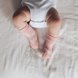 Lamington Crew Length Wool Socks rosemary - Pink with Natural X